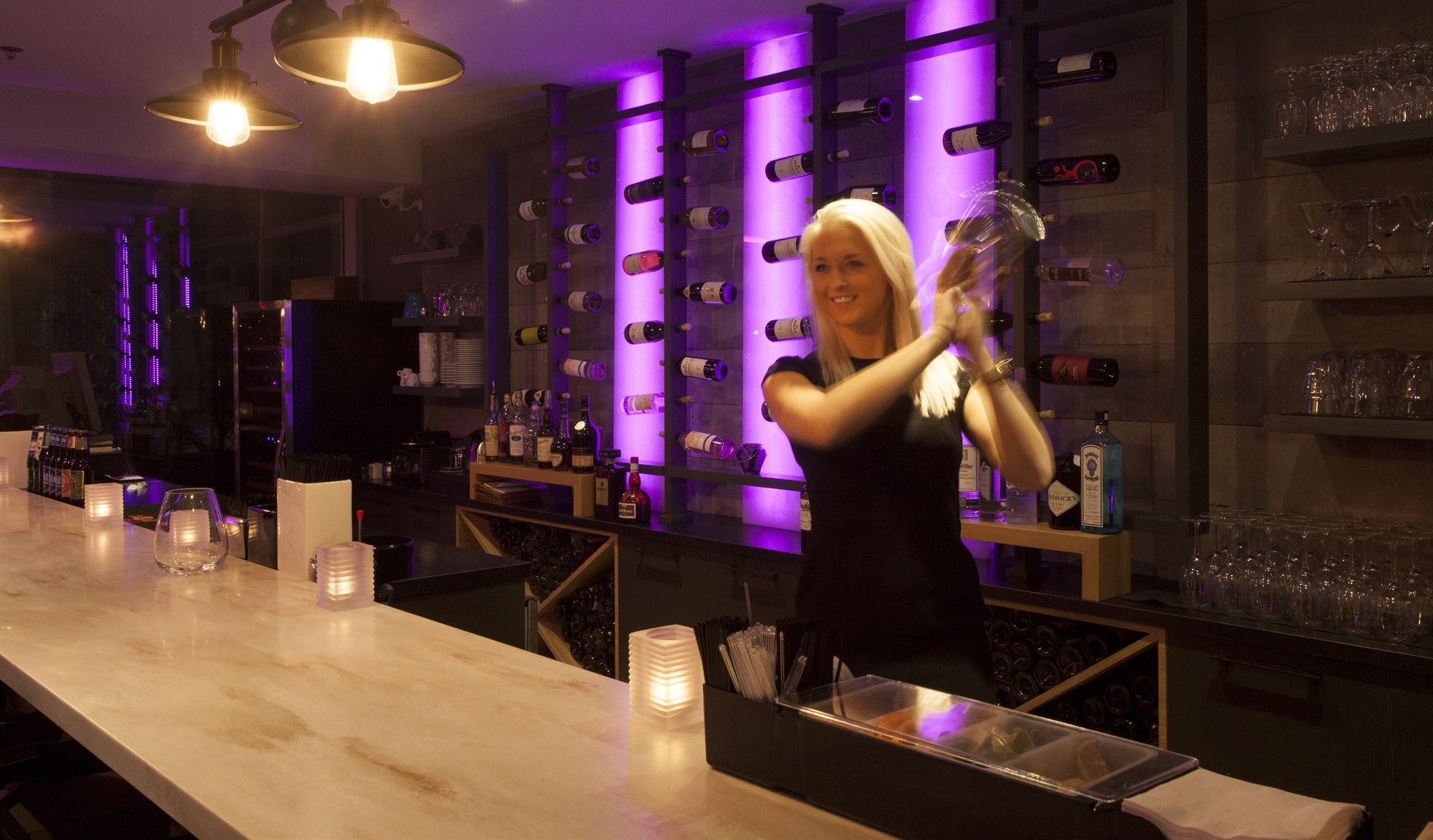 Image of a bartender shaking a drink at our grand Dining in Montreal at Hotel 10